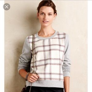 Anthropologie Saturday Sunday Plaid Front  Sweater